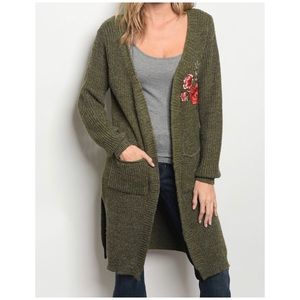 LAST 3//OLIVE SPECKLED EMBROIDERED CARDIGAN